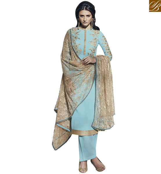 STYLISH BAZAAR ULTIMATE SKY BLUE COLORED DESIGNER SALWAR SUIT VDNRA10769