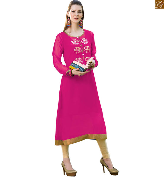 Georgette latest kurtis design 2015 nice designer ethnic wear pink pure viscose georgette long sleeves kurti with piping and copper color border on lower part Image
