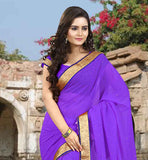 STELLAR CHIFFON PURPLE SAREE BLOUSE COMBINATION SCATTERED  STONE WORK IS DONE ON THE SARI WITH CONTRAST LACE BORDER