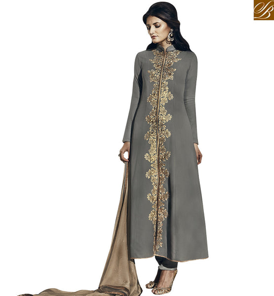 STYLISH BAZAAR SUPERB GREY COLORED PARTY WEAR DESIGNER SUIT VDNRA10770