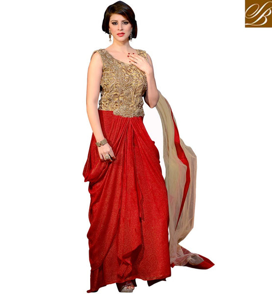 DESIGNER ANARKALI SUITS ONLINE SHOPPING IN INDIA INDO WESTERN STYLE BEIGE AND RED GEORGETTE ANARKALI WITH SANTOON SALWAR AND NET DUPATTA