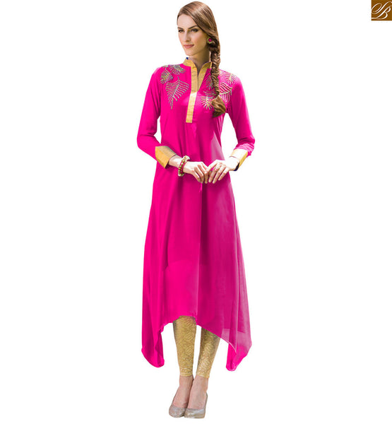 2015 latest pakistani designer kurtis with different cuts shape pink pure viscose georgette c cut stylish kurti, high neck with zari patch work and long sleeves Image