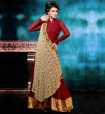 STYLISH ANARKALI DESIGNER SUITS ONLINE SHOPPING MAJESTIC MAROON GEORGETTE DRESS WITH SANTOON SALWAR AND BEIGE CHIFFON DUPATTA