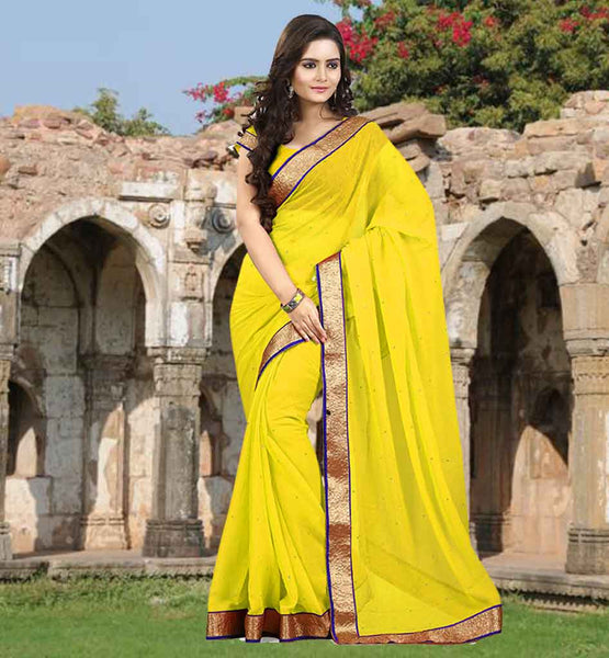 DESIGNER SAREE BLOUSE IMAGES FOR INDIAN LADY MAJESTIC YELLOW COLOR CHIFFON FABRIC SARI-CHOLI