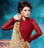 MAJESTIC MAROON GEORGETTE DRESS WITH SANTOON SALWAR AND BEIGE CHIFFON DUPATTA RAJWADI GOWN STYLE DRESS WITH FRONT ZIP STYLE LOOK AND BROAD BORDER AT