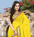 MAJESTIC YELLOW COLOR CHIFFON FABRIC SARI-CHOLI TO ENHANCE  THE LOOK STONE WORK IS DONE ON IT AND LACE BORDER IS APPLIED