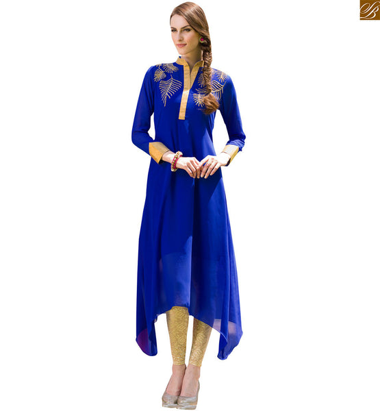 Designer kurti designs long frock style dresses for stylish girl blue pure viscose georgette different cut style kurti with long sleeves and zari patch work Image