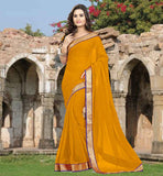 CASUAL SAREES BELOW 1500 WITH BLOUSE BUY ONLINE BRILLIANT MUSTARD COLOR CHIFFON FABRIC SARI-CHOLI COMBIBATION