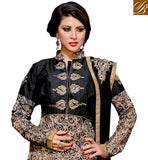 RAW SILK BLACK AND BEIGE SUIT WITH SANTOON SALWAR AND NET DUPATTA HEAVILY EMBELLISHED DRESS WITH LOVELY DESIGN ON NECKLINE, SLEEVES AND HEMLINE
