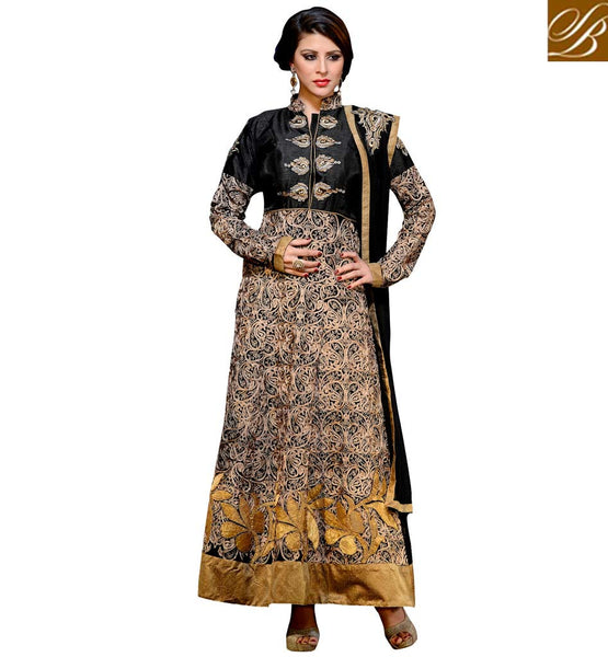 INDIAN DESIGNER SALWAR KAMEEZ ONLINE SHOPPING RAW SILK BLACK AND BEIGE SUIT WITH SANTOON SALWAR AND NET