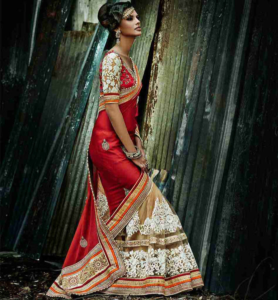 BUY HEAVY WORK DESIGNER BEIGE AND RED WEDDING WEAR SAREE | PATTU SAREE BLOUSE DESIGNS FOR DIFFERENT LOOKING STYLE | DESIGNER INDIAN WEAR ONLINE SHOPPING INDIA