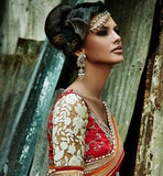 HEAVY WORK DESIGNER BEIGE AND RED WEDDING WEAR SAREE