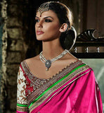 STUNNING BEIGE AND PINK SARI WITH DUPION AND NET DESIGNER BLOUSE