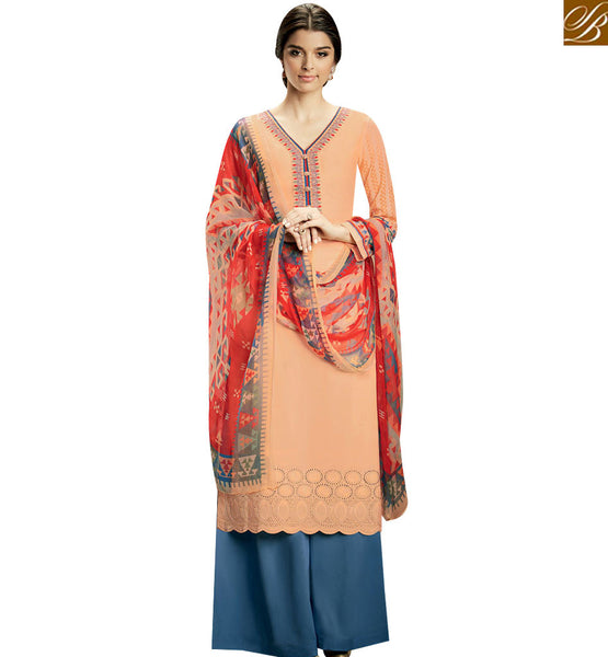 STYLISH BAZAAR GOOD-LOOKING PEACH COLOR KAMEEZ AND BLUE PLAZZO SALWAR WITH MULTI COLOR DUPATTA KMV107