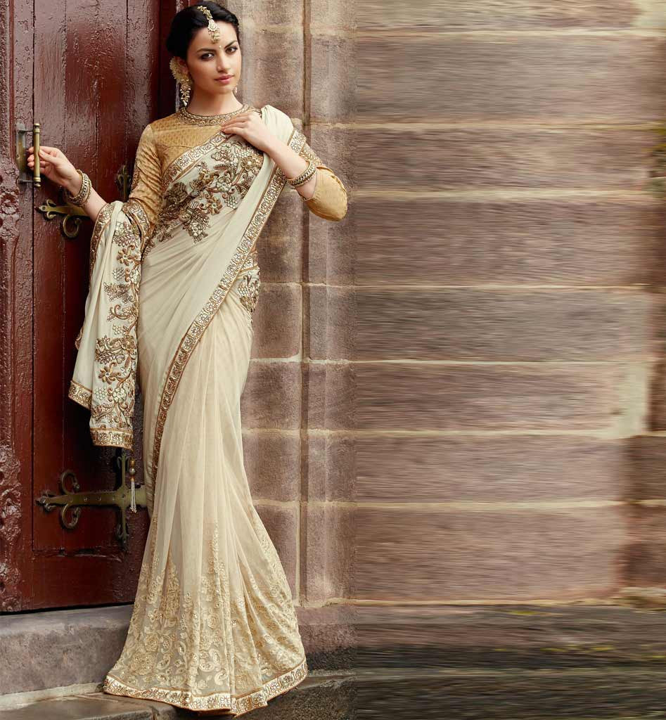 Wedding White Sarees Online: OFF WHITE WEDDING SARI KIMSA107