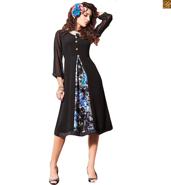 FROM THE HOUSE  OF STYLISH BAZAAR MODERN PARTY WEAR BLACK DESIGNER KURTI RTVIN107