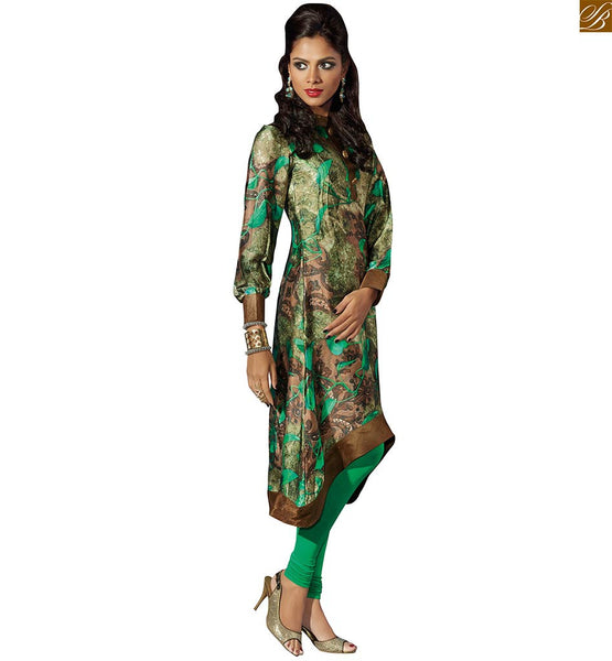 Designer kurtis boutique fashion casual clothes for women green and beige fawn silk crepe amazing printed c cut pattern kurti with bishop style sleeves Image