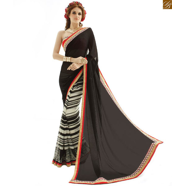 Simple half saree designs with designer blouses indian draping wear black and green georgette indian new collection printed saree with maroon amazing art silk blouse