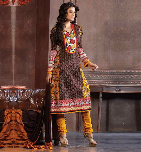 COTTON SALWAR SUIT LATEST DESIGNS WITH FLORAL EMBROIDERY NECK DESIGN