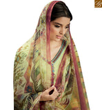 STYLISH BAZAAR PRESENTS STUNNING LIGHT GREEN COLORED SUIT WITH MULTI COLOR DUPATTA KMV108
