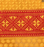 Three fourth type sleeves with border line. Red santoon palazzo type bottom. Matching nazneen dupatta with lace border Image
