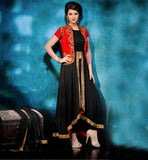 KOTI STYLE ANARKALI DRESSES ONLINE SHOPPING INDIA  BEAUTIFUL BLACK GEORGETTE DRESS WITH RED RAW SILK JACKET