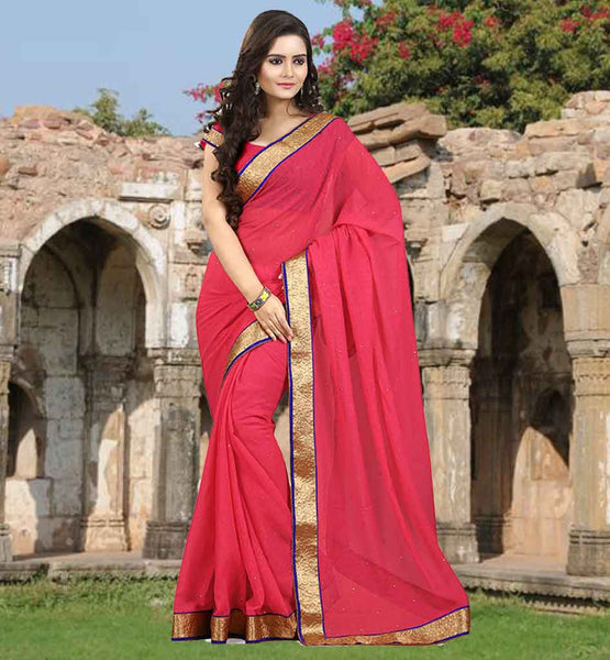 CASUAL SAREES COLLECTION FROM STYLISH BAZAAR STYLISH DESIGN WITH PINK COLOR PLAIN CHIFFON SAREE IN REASONABLE PRICE