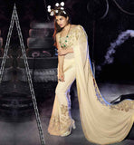 PIC OF CELEBRITY BLOUSE DESIGNS 2015 WITH BORDER FOR SAREE DRAPING STYLES LOOKS SLIM PARTY WEAR CREAM GEORGETTE AFFORDABLE PRISE BOLLYWOOD CELEBRITY JACQUELINE FERNANDEZ