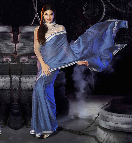 SAREE JACKET DESIGNS 2015 FOR BOLLYWOOD ACTRESSES LIKE JACQUELINE FERNANDEZ AND BLUE GEORGETTE LACE BORDER OF SARI BLOUSE PATTERN DESIGNER LATEST FASHION LACE BORDER WORK PARTY WEAR BOLLYWOOD TRENDS COLLECTION AND BLUE GEORGETTE LACE BORDER