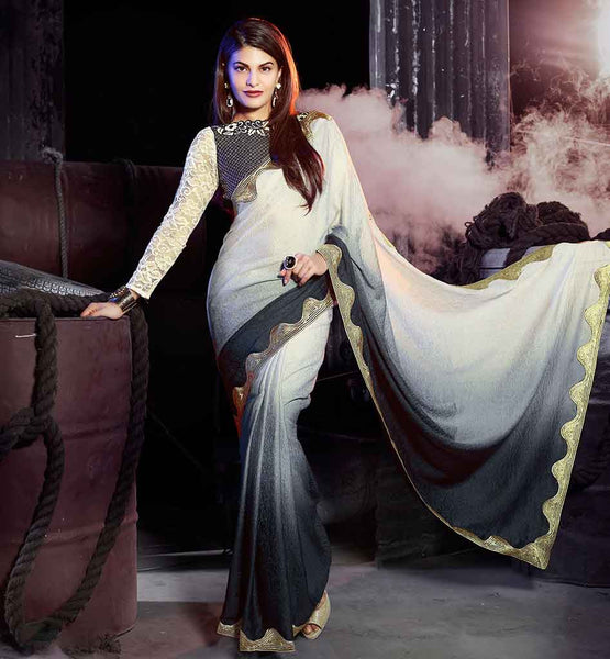 LATEST PARTY WEAR BLOUSE DESIGN AND SAREE DRESS UP BY HEROINE JACQUELINE FERNANDEZ SARI JACKET PATTERNS 2015 LATEST FASHION WEAR COLLECTION INSPIRED BOLLYWOOD CELEBRITY