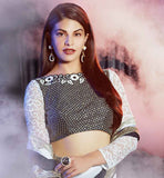 SARI JACKET PATTERNS 2015 LATEST FASHION WEAR COLLECTION INSPIRED BOLLYWOOD CELEBRITY JACQUELINE FERNANDEZ IN GREY & BLACK JACQUARD EMBROIDERED OUTFIT