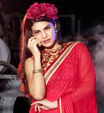 JACQUELINE FERNANDEZ PINK GEORGETTE EMBROIDERED DRAPE WEAR SAREE BLOUSE DESIGNS 2015 FOR PARTY WEAR DRESS UP BY BOLLYWOOD CELEBRITY JACQUELINE