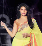 FANCY BLOUSE AND CUTE SAREE ENHANCE BEAUTY OF CELEBRITY JACQUELINE FERNANDEZ INDIAN BOLLYWOOD HEROINE JACQUELINE FERNANDEZ IN LEMON & ORANGE GEORGETTE SHADED SAREE & BLOUSE LOOKS BEAUTIFUL