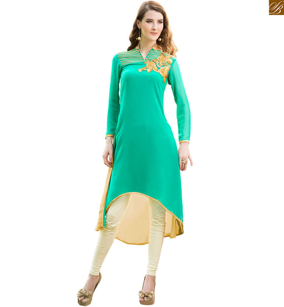 Long kurtis with stylish embroidery neck back and sleeves designs sea-green pure viscose georgette front short back long style kurtis with patch work on neck line Image