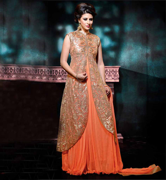 LONG JACKET STYLE ANARKALI ONLINE SHOPPING INDIA BOLD ORANGE NET AND CHIFFON SUIT WITH MATCHING SANTOON BOTTOM AND CHIFFON DUPATTA