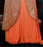 BOLD ORANGE NET AND CHIFFON SUIT WITH MATCHING SANTOON BOTTOM AND CHIFFON DUPATTA LONG JACKET STYLE ANARKALI ONLINE SHOPPING INDIA