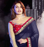 JACQUELINE FERNANDEZ BEAUTY QUEEN OF INDIAN CINEMA IN NAVY BLUE GEORGETTE FABRIC DRAPE DRESS SARI BLOUSE DESIGNS OF NEW FASHION TRENDS PARTY ATTIRE FOR PAGE THREE HEROINE
