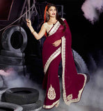 SAREE BLOUSE DESIGN 2015 BOLLYWOOD FASHION WEAR FOR ACTRESS JACQUELINE  LATEST FASHION PARTY WEAR DULL PINK GEORGETTE EMBROIDERED  SARI JACKET COLLECTION INSPIRED BY JACQUELINE FERNANDEZ