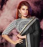 PIC OF JACQUELINE FERNANDEZ BLACK GEORGETTE SAREE & STYLISH EMBROIDERED BLOUSE