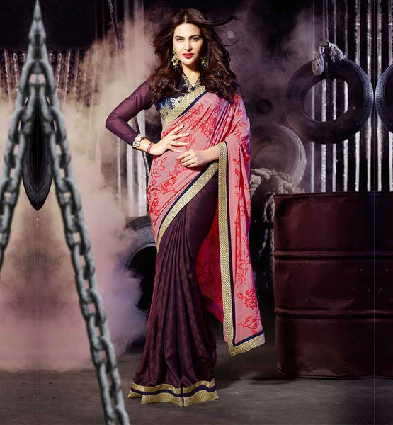 BOLLYWOOD SARIS HOT LOOKING JACQUELINE FERNANDEZ WITH LACE BLOUSE DESIGNS   DESIGNER JACKET SARI PATTERNS 2015 BEST NEW FASHION WEAR TRENDY COLLECTION   PEACH & DARK BROWN GEORGETTE EMBROIDERED DRAPE PARTY WEAR