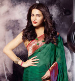 MARVELOUS GREEN GEORGETTE & BRASSO PARTY WEAR SAREE & BLOUSE