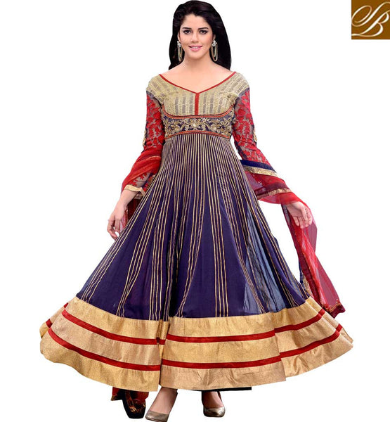 DESIGNER ANARKALI SUITS ONLINE SHOPPING INDIA EXCITING BLUE GEORGETTE SPECIAL OCCASION WEAR SUIT WITH SANTOON BOTTOM AND CHIFFON DUPATTA