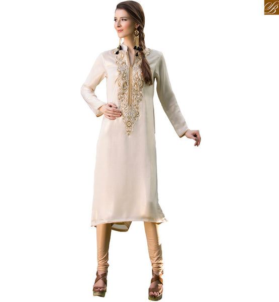 Long kurtis online shopping ladies fashion design 2015 best off-white pure viscose georgette long sleeve with piping on kurti and hight neck designer collar Image
