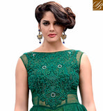 GORGEOUS GREEN COLOR GOWN STYLE NET FABRIC SUIT THAT HAS MATCHING  SANTOON BOTTOM &  NET MATERIAL DUPATTA The top has floral embroidery and stone work on neckline and heavy thread work embellishments all over
