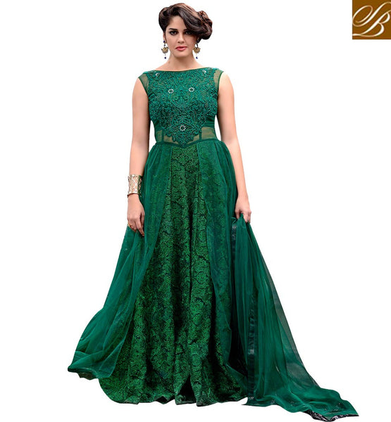 ONLINE DESIGNER SALWAR KAMEEZ SHOPPING FOR WOMEN GORGEOUS GREEN COLOR GOWN STYLE NET FABRIC SUIT THAT HAS MATCHING  SANTOON BOTTOM &  NET MATERIAL DUPATTA
