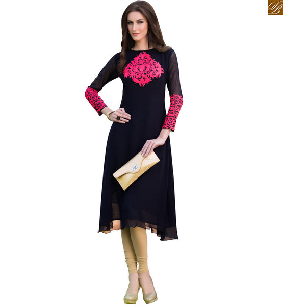 Pakistani designer long kurti design 2015 ever-stylish tops black pure viscose georgette boat type neck designer kurti and heavy embroidery work on neck line Image