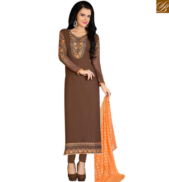 STYLISH BAZAAR SPLENDID BROWN COLORED CASUAL WEAR SALWAR SUIT VDKRT10851