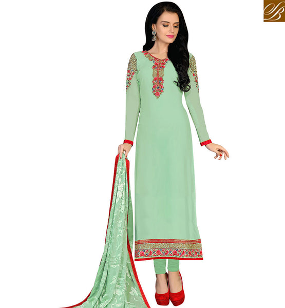 STYLISH BAZAAR EYE CATCHING LIGHT GREEN COLORED GEORGETTE SUIT VDKRT10854