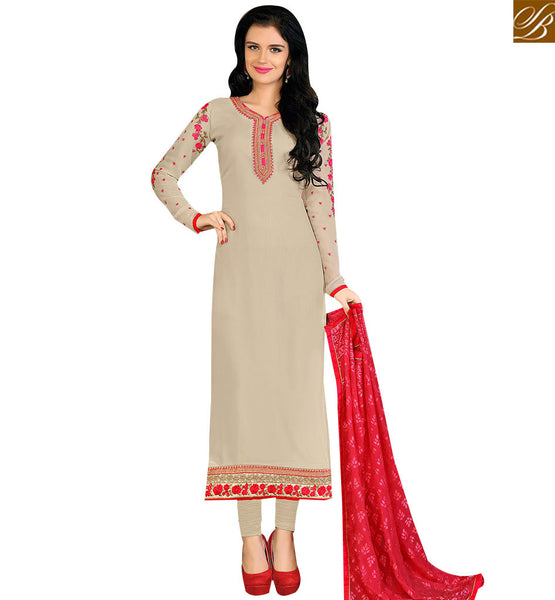 STYLISH BAZAAR STRIKING BEIGE COLORED DESIGNER SALWAR KAMEEZ VDKRT10855