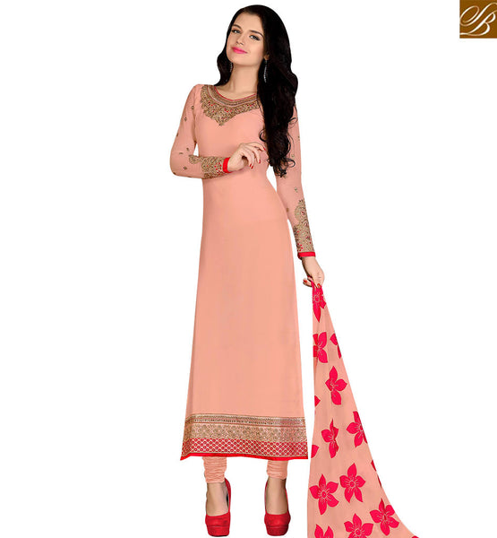 STYLISH BAZAAR MARVELLOUS PEACH COLORED DESIGNER SUIT VDKRT10856